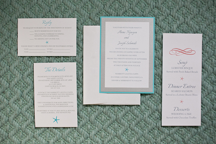 Teal and Silver Starfish Invitation Collection