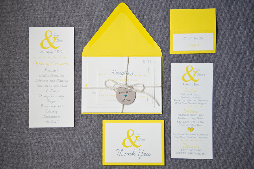 Fun & Flirty Yellow Wedding Invitation Collection