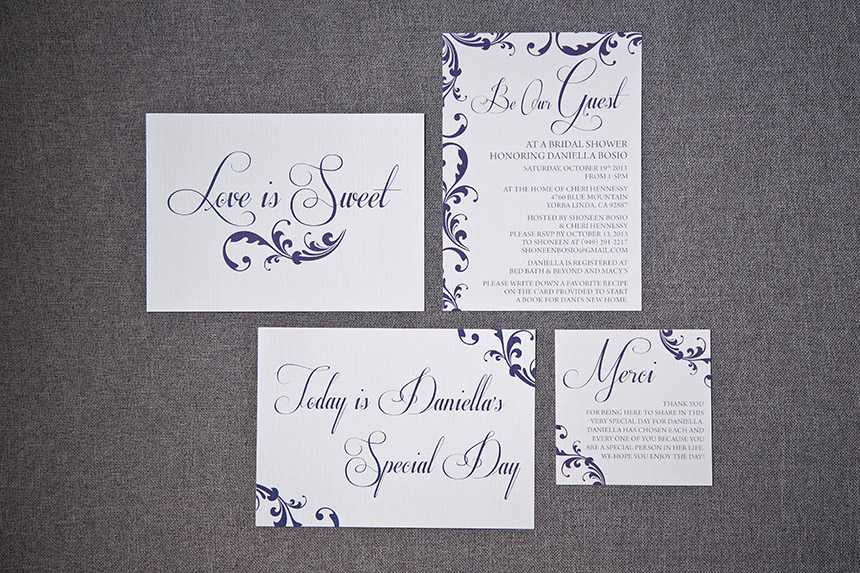 Purple Swirl Bridal Shower Invitations