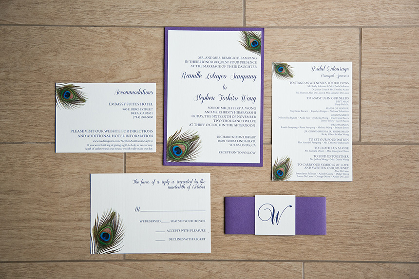 Purple Peacock Wedding Invitations