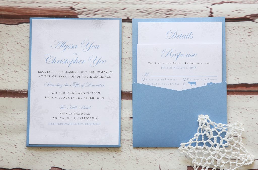 Pale Vista Blue Winter Wedding Stationery