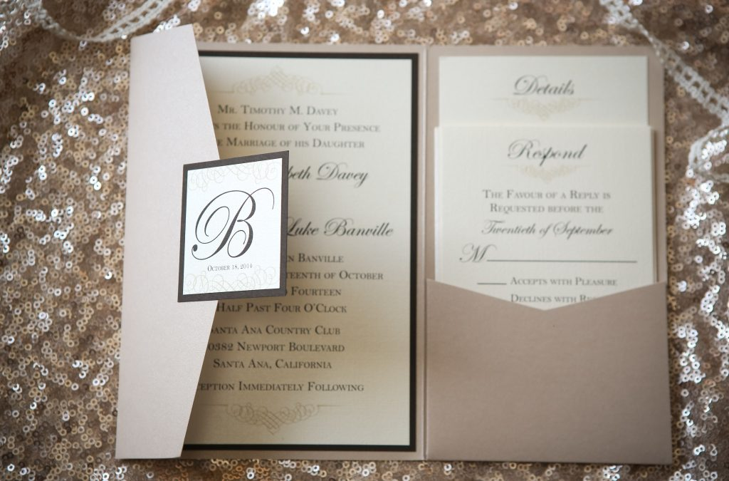Champagne & Ivory Invitation Collection with Chocolate Accents