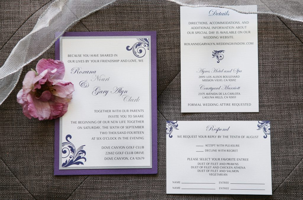 Silver & Royal Purple Swirl Panel Invitations