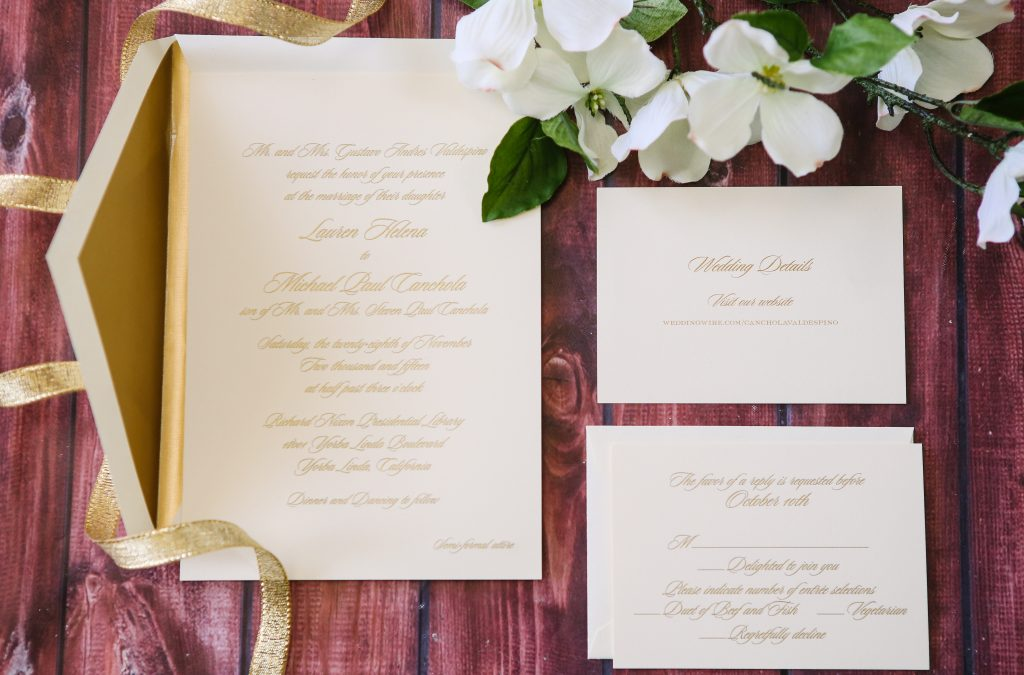 Sweet White & Gold Stationery Collection