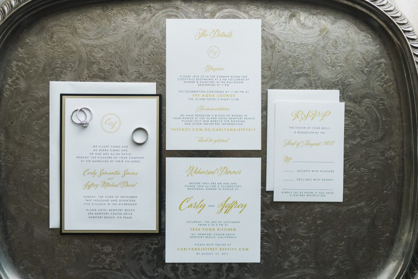 Glamorous Black & Gold Wedding Stationery Collection
