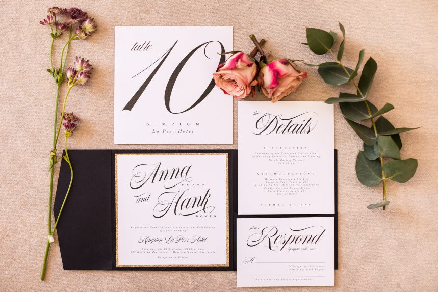 Kimpton La Peer Hotel – Los Angeles Wedding – Styled Shoot: Wedding Stationery Collection