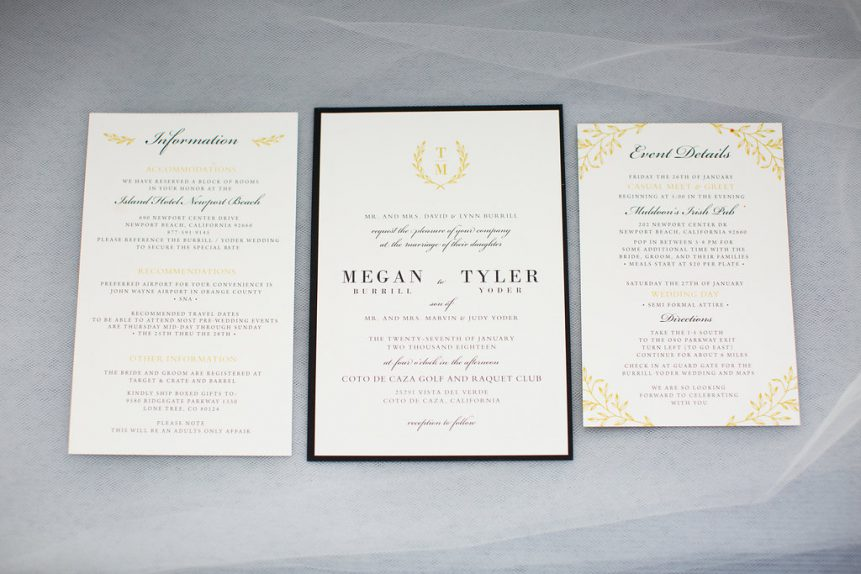 Black & White Wedding Stationery Collection with Gold Accents
