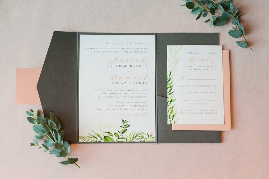 Romantic Garden-Inspired Peach & Grey Wedding Stationery Collection