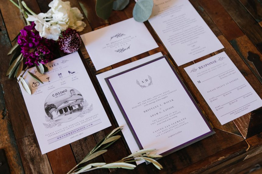 Deep Purple & Charcoal Wedding Stationery Collection