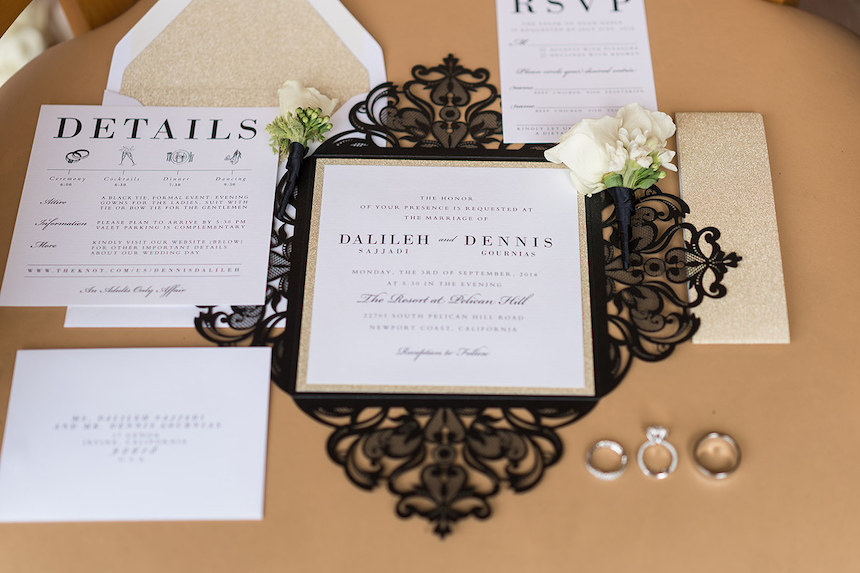 Black & Gold Lasercut Wedding Invitations